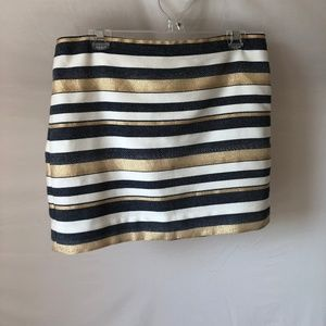 J. Crew Blue & Gold Striped Mini Skirt Size 8